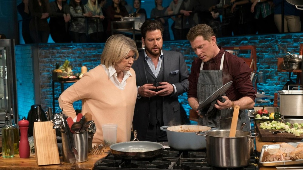 Bobby Flay cooking for Martha Stewart on Food Network