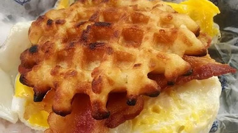 Bacon Egg and Cheese Waffle Slider from white castle