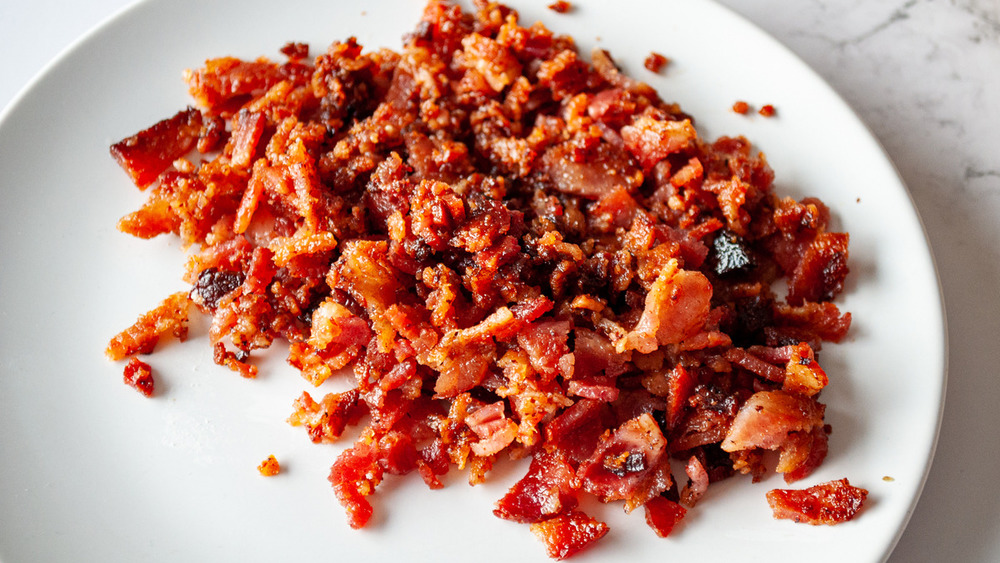 diced bacon in bowl