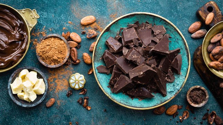 cacao beans and chocolate varieties