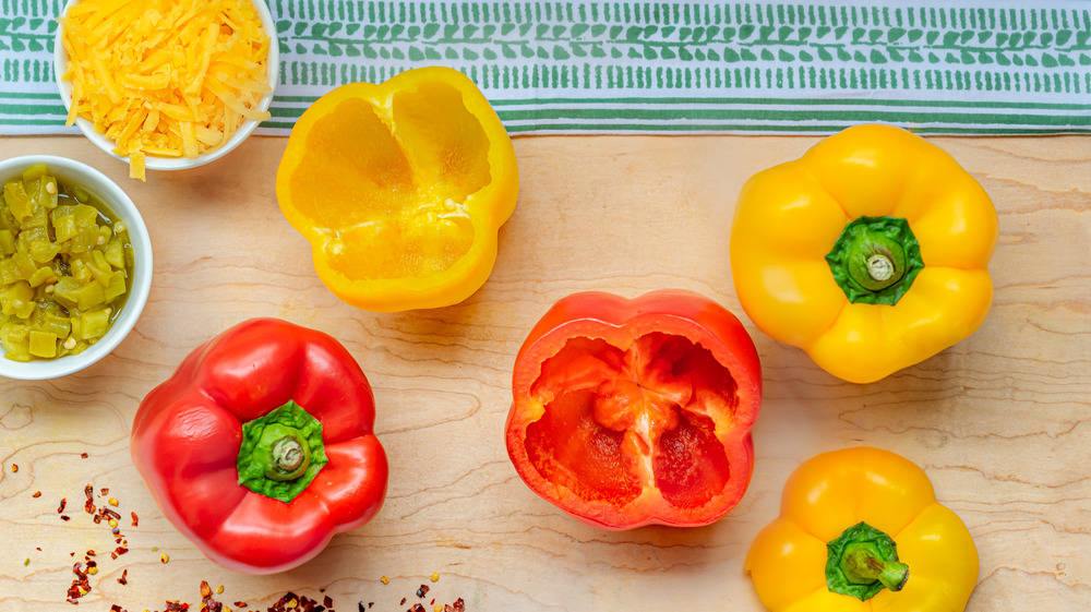 Hollowing out peppers for one-pot stuffed bell peppers recipe