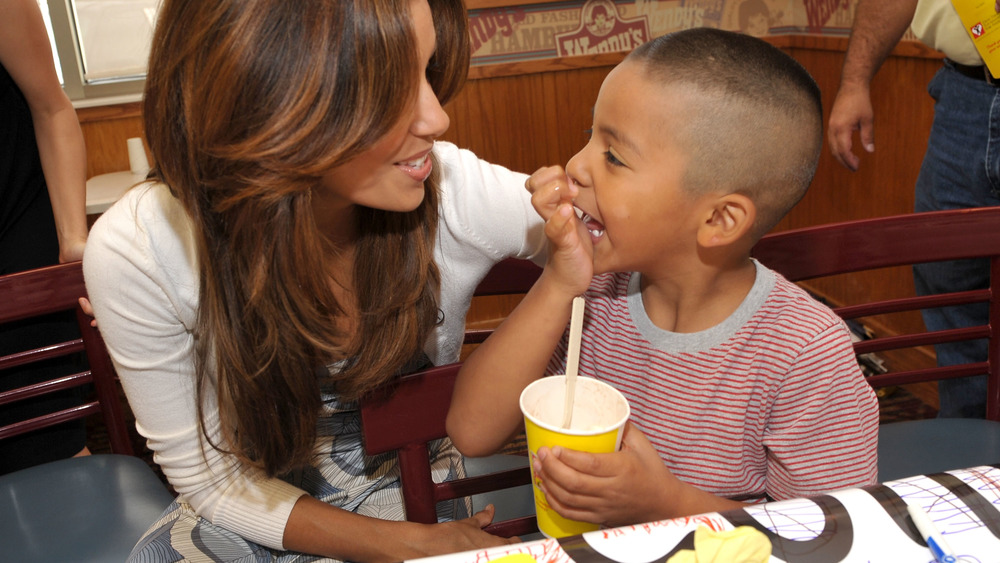Child and adult woman at Wendy's restaurant